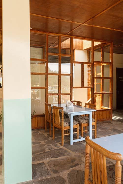 Indoor section at rooftop restauramt in Naggar Delight